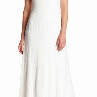 Vera Wang Sequin Back Cutout Gown – 16