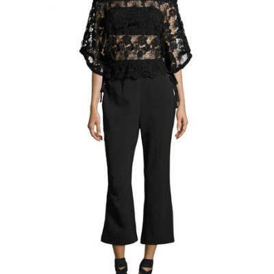 Foxiedox Daisy Lace-Overlay Jumpsuit, Black