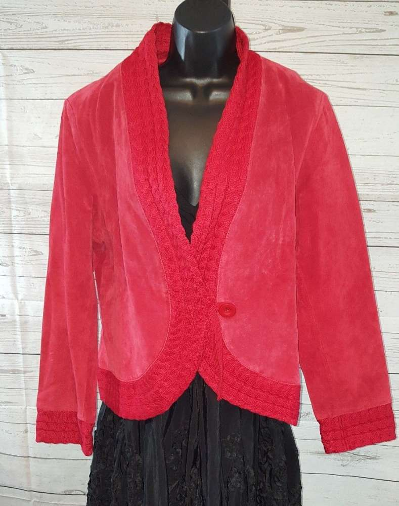 Coldwater Creek Red Suede Leather JacketCable Knit Accents