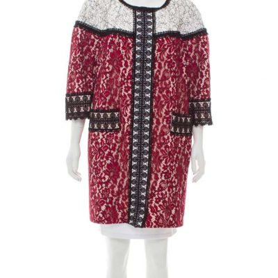 ANDREW GN LACE COLORBLOCK COAT Size 16