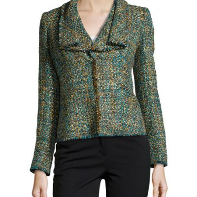 Lafayette 148 New York Cecille Empire Fringed Tweed Jacket, Dragonfly
